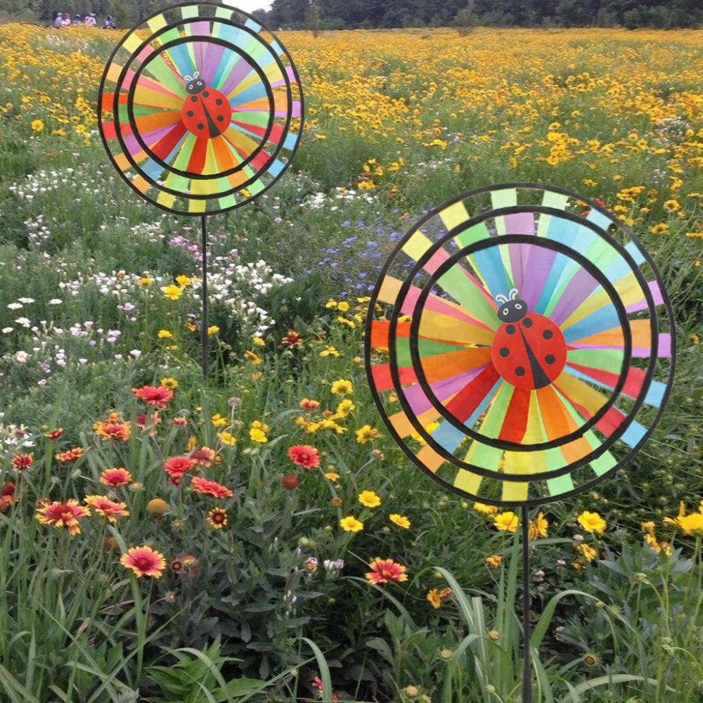 New Colorful Rainbow Triple Wheel Wind Spinner Windmill Garden Yard Outdoor Decor Kids Toys