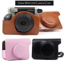Fujifilm instax wide 300 caixa de câmera instantânea, qualidade bolsa de transporte de couro do plutônio, 5 cores-rosa, marrom e preto