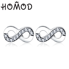 HOMOD 2019 1 Pair Earring Fashion CZ Zircon Infinity Symbol Brand Stud Earrings Retail Delivery Women Wedding Jewelry