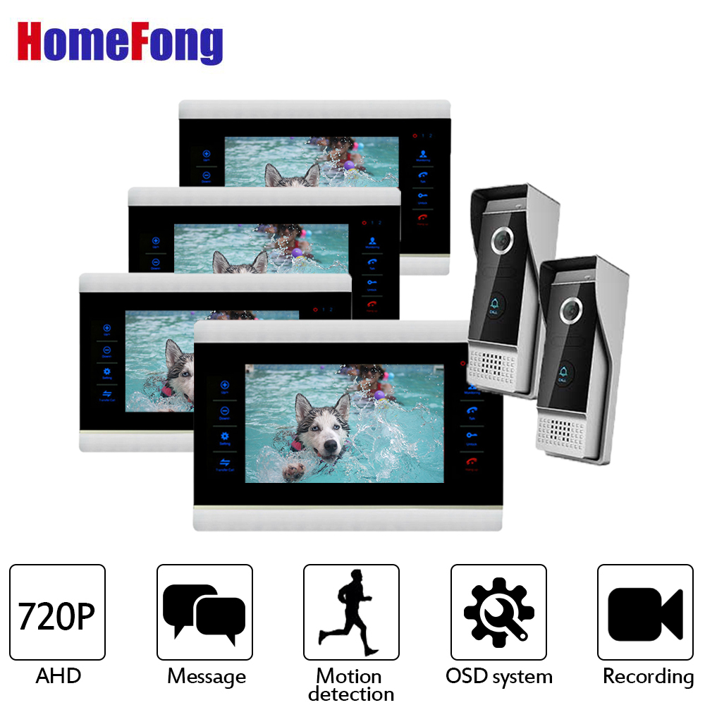 Homefong 7 Inch AHD Video Doorbell Intercom System Camera Touch Key 4 Monitors and 2 Doorbells 720P High Resolution Unlock
