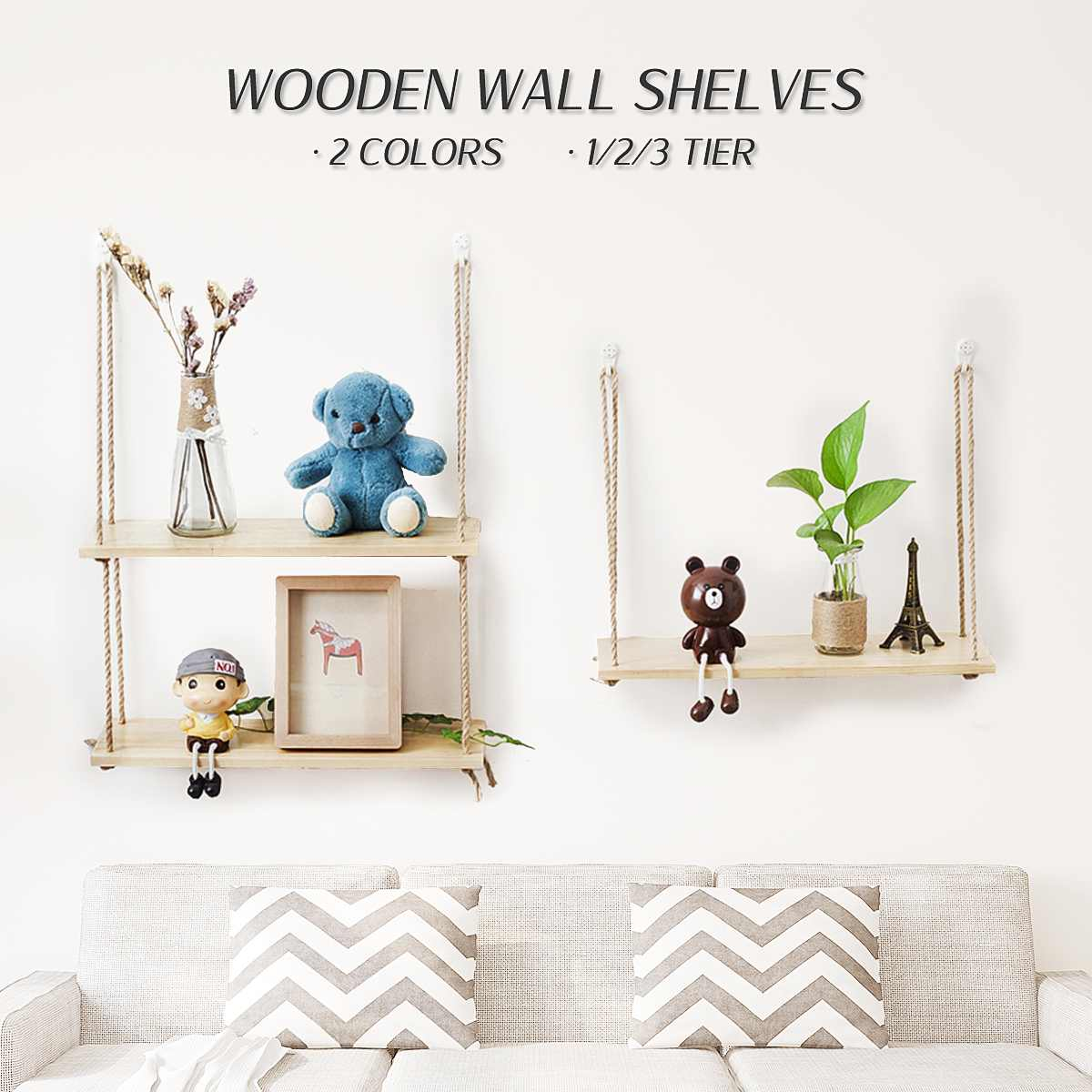 Wall Hanging Living Room Bookcases 1/2/3 Shelf Home Decoration Wood Wall Rope Floating Storage Shelf Crafts Display DecorWall Hanging Living Room Bookcases 1/2/3 Shelf Home Decoration Wood Wall Rope Floating Storage Shelf Crafts Display Decor