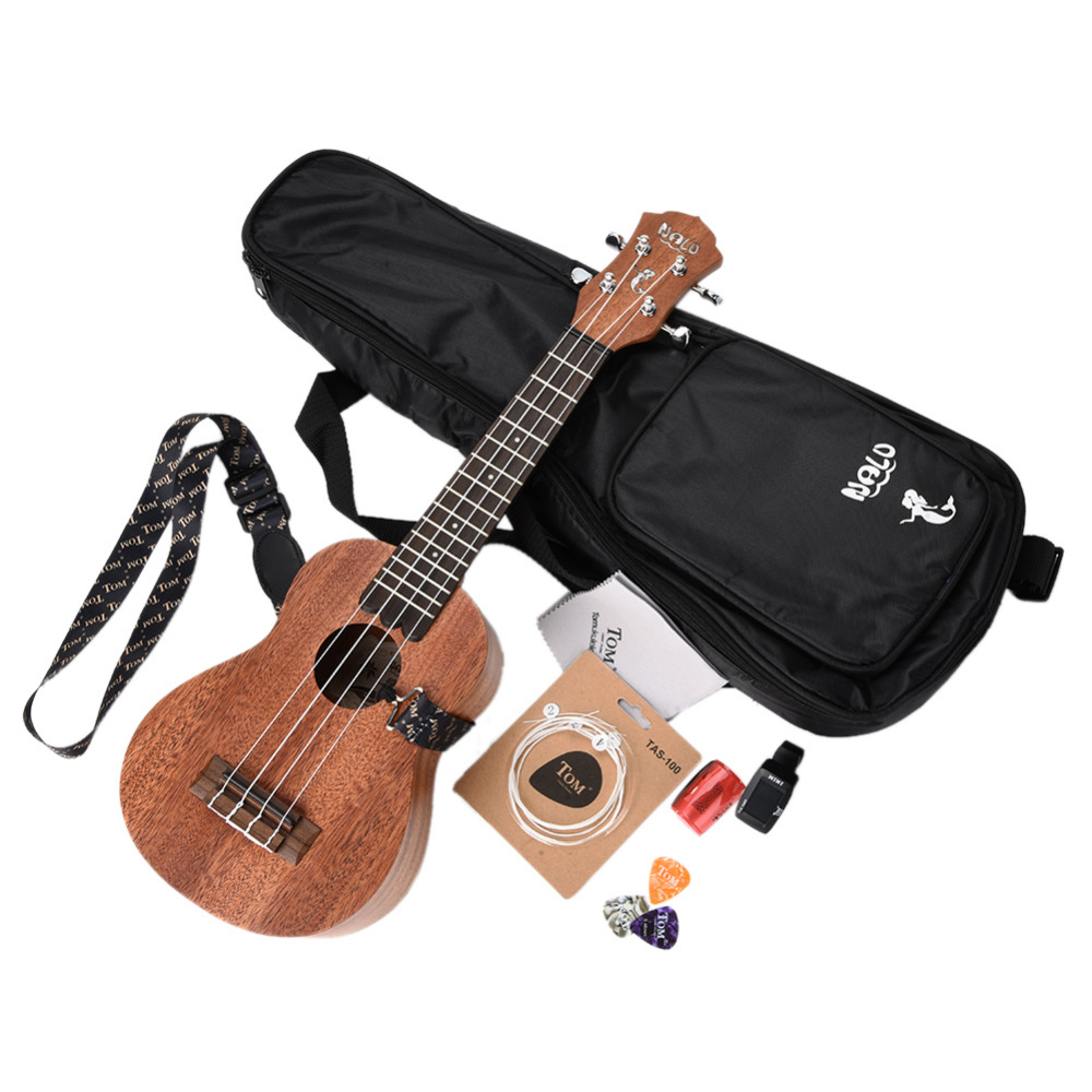 NALU 21,23,26 inch Ukulele 4 Strings Hawaii Guitar Packing With Ukulele Strap Bag Tuner Strings Picks Instrument Accessories zebra professional 24 inch sapele black concert ukulele with rosewood fingerboard for beginner 4 stringed ukulele instrument