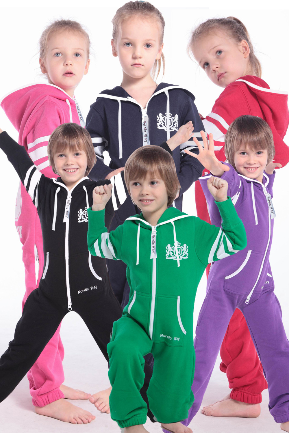 Nordic Way Printed One Piece Jumpusit All In One Fashion Kids Romper Hoody Fleece Overall