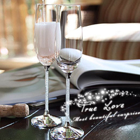 Europe Luxury Crystal Diamond Champagne Cup Goblet wine glass romantic wedding glasses Gift box Party drinkware Supplies