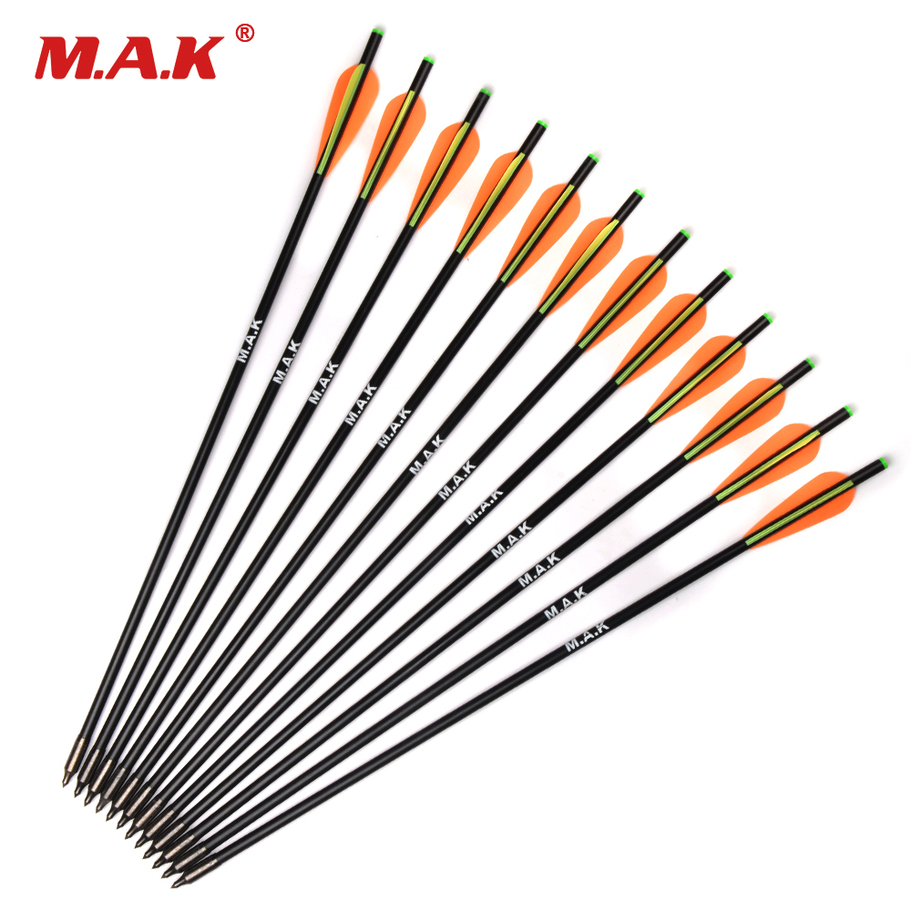 6/12/24pcs 17/20 Inch MAK Fiberglass Crossbow Arrow With Diameter 8mm Remove Tips Archery Bow Target Arrow For Hunting/Shooting
