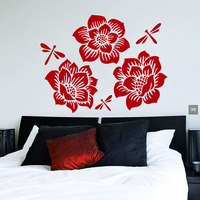 Flowers Dragonflies Wall Stickers Home Decor Rose Blossom Home Wall Decals For Living Room Modern