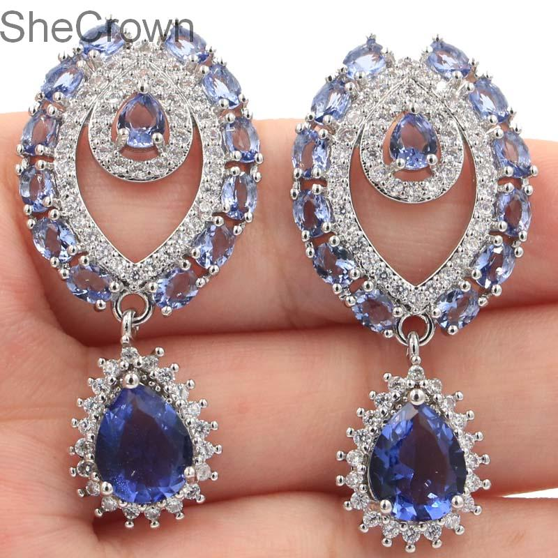 Anting-anting klasik Drop bentuk Iolite putih alami CZ wanita anting-anting, 44 x 21 mm