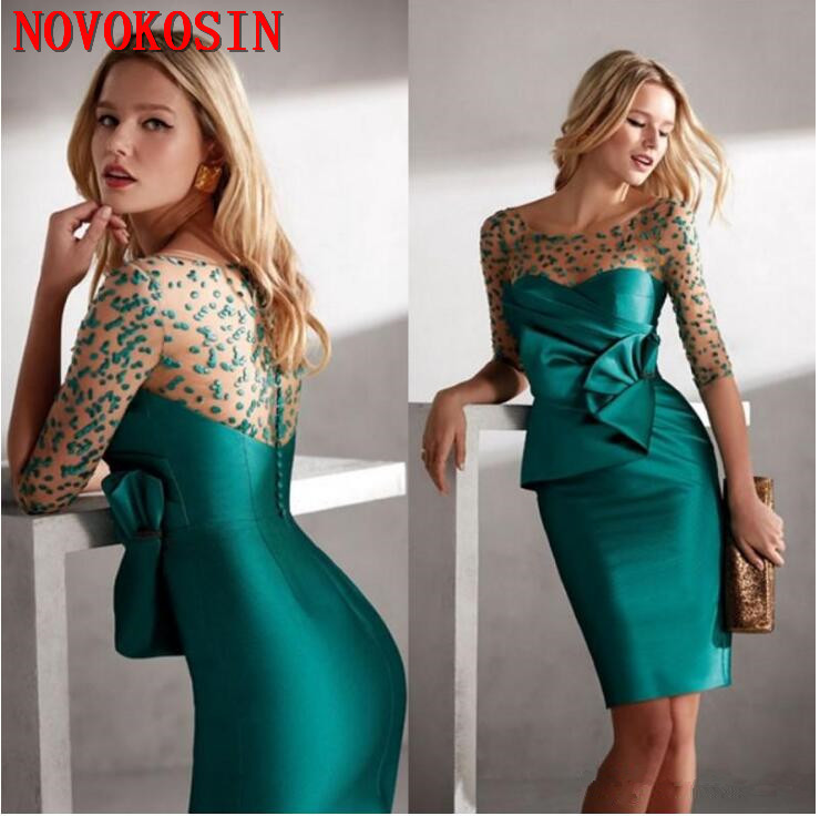 2019 Elegant Green Mother Of The Bride Dresses Jewel Neck Half Sleeves Plus Size Wedding Guest Dress Knee Length Evening Gown