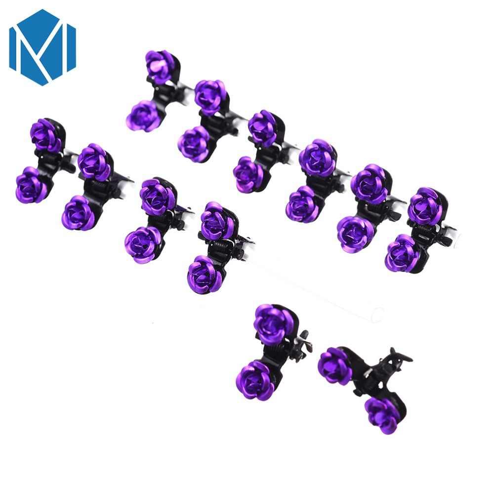 M MISM 12PCS Rose ดอกไม้ขนาดเล็ก Claw Hairpins สำหรับผู้หญิงผู้หญิงเด็กผู้หญิงอุปกรณ์เสริมผมเครื่องประดับปูคลิปผม hairgrip