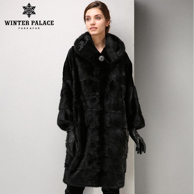 Зимние модные высококачественные женщины норковую пальто длинные пальто с мехом удобные норки пальто с мехом воротник-стойка пальто Зимни...