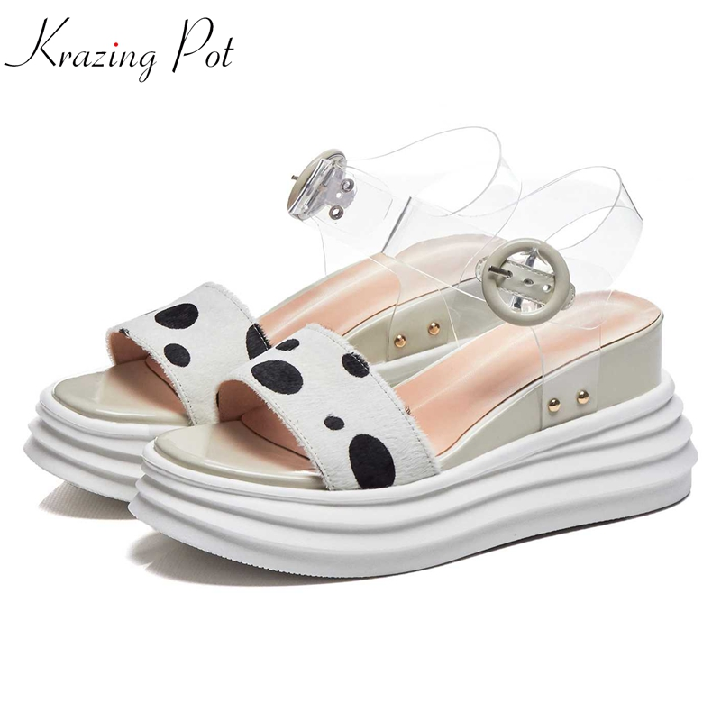 Krazing pot new genuine leather spot prints peep toe women sandals brand mixed color high heel