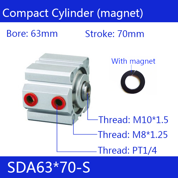 SDA63*70-S Free shipping 63mm Bore 70mm Stroke Compact Air Cylinders SDA63X70-S Dual Action Air Pneumatic Cylinder блуза mango kids mango kids ma018egwir66