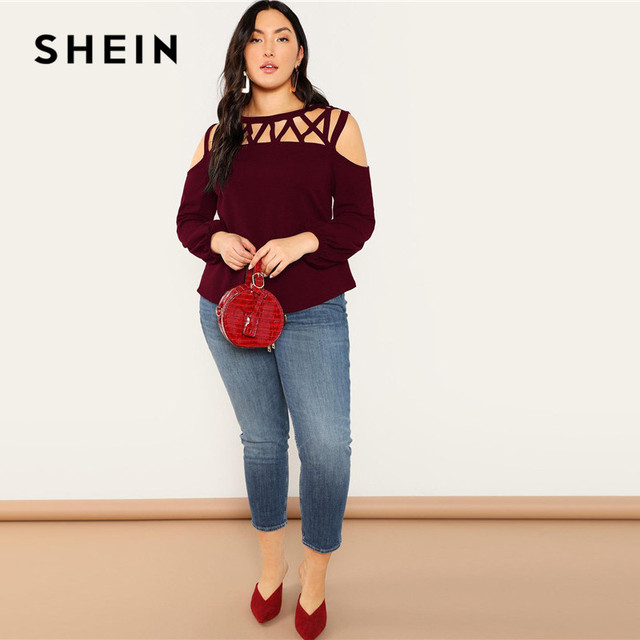 SHEIN Black Sexy Cut Out Cold Shoulder Lantern Sleeve Women Plus Size Blouse 2019 Spring Casual Solid Top Blouses 3 Colors 5