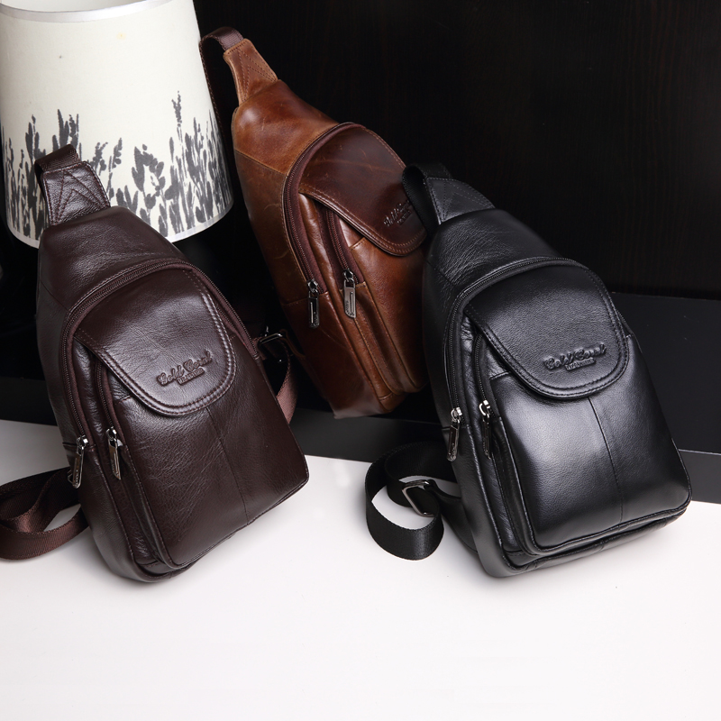 ФОТО Famous designer genuine leather men chest packs fashion travel shoulder bags for men messenger crossbody bag M007