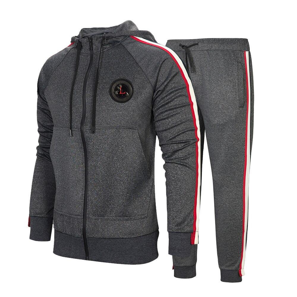 Spring Men Set 2019 Casual Sportswear Suit Hooded Sweatshirt Men's Zipper Jackets Hoodies+Pants 2pcs Sets Male Striped Tracksuit