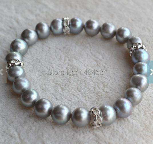 Wholesale Pearl Jewelry, 7 inches Gray Color Genuine Freshwater Pearl Bracelet Crystal Beads, Wedding Bridesmaids Gift Bracelet