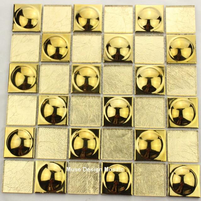 Neue Ankunft Goldfolie Electro Platte Glasmosaik Wand Fliesen Für Küche  Backsplash Hintergrund Flur DIY Wandaufkleber Tapete