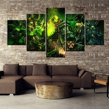 HD Print 5 Piece World of Warcraft Game Modern Decorative Landscape Canvas Wall Art Home Decor For Living Room Canvas Painting