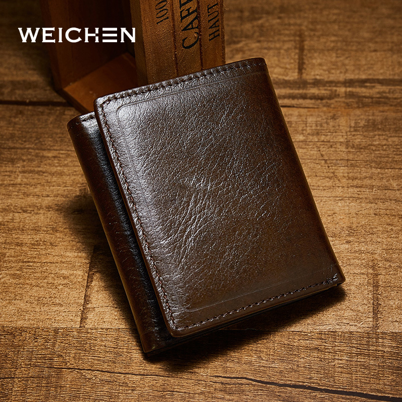WEI CHEN Genuine leather men wallet vintage short design Cowhide Brand Male Coin Purse Money High Quality Wallets 2017 new wallet small coin purse short men wallets genuine leather men purse wallet brand purse vintage men leather wallet