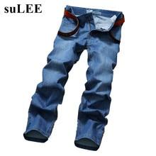 SuLEE марка 2017 Новый дизайн Весна Известная Марка Мужчины Тонкие Джинсы мужские Прямые Брюки Длинные Брюки джинсовые
