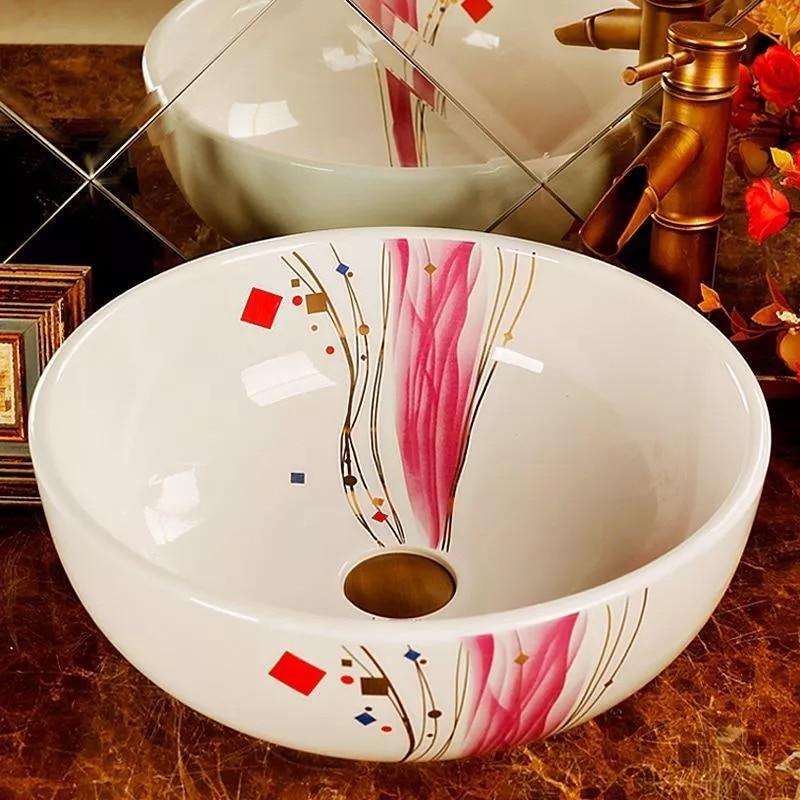 Haute température cuisson élégante salle de bains en céramique porcelaine lavage à la main lavabo