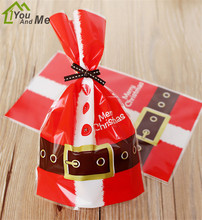 100Pcs Santa Claus Clothes Plastic Biscuit Cookie Candy Bags Baking Packing For Christmas Party Gift Bag 14*22cm 50pcs set 28 13cm christmas bags santa claus snowman candy cookie bags with twist ties for xmas party supplies new year gift bag