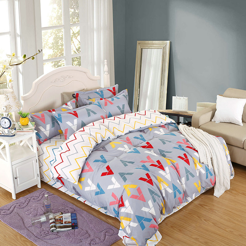 Fashion Simple Bedding Super Comfortable Soft Home Textiles 4 Pcs Quilt + Bed + Pillowcase Variety Of Colors Optional
