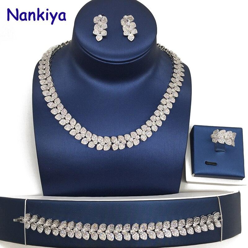 Nankiya 2018 nouvelle feuille Tennis zircone ensemble pavé CZ cristal laiton or couleur mariage 4 pièces Dubai bijoux ensemble robe de mariée NC327
