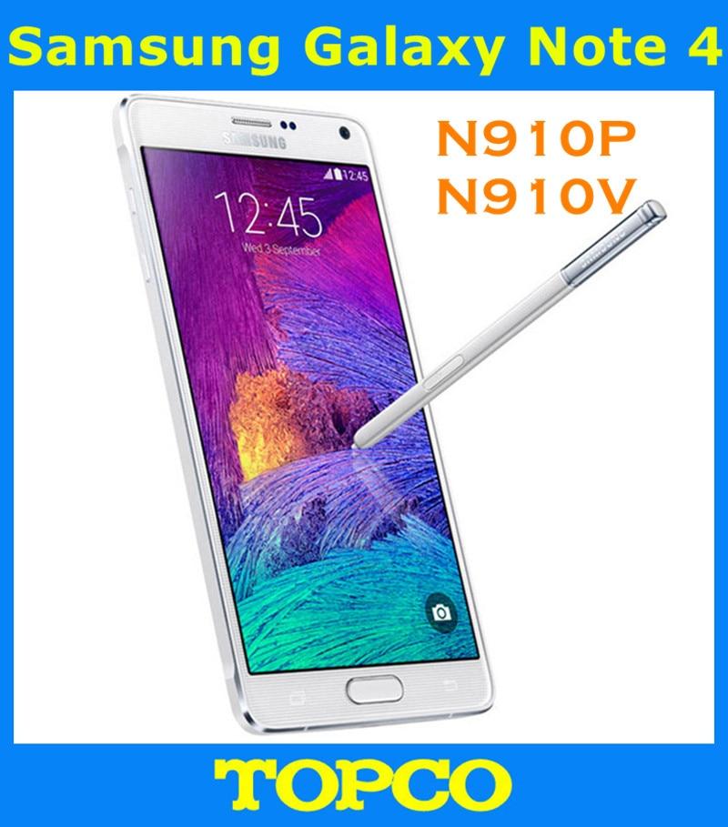 "Цена за Samsung Galaxy Note 4 N910P N910V Оригинальный Разблокирована 3 Г и 4 Г GSM Android Мобильного Телефона Quad core 5.7 ""16MP 32 ГБ WI FI GPS"