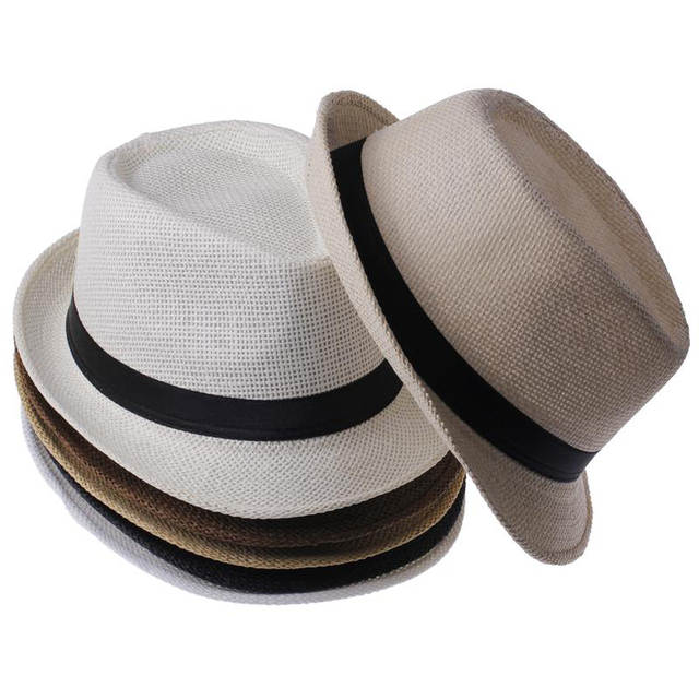 d9b76de6394 child hat Summer Beach Sunhat Fedora Trilby Straw Hat boy girl Gangster Sun  Cap Fit For