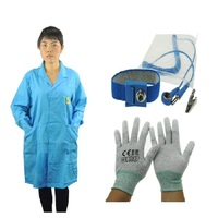 Working Vests ESD Antistatic Lab Coat ESD Smock Work Wear Smock High Quality Cotton Uniform Antistatic Wrist Strap and ESD Glove