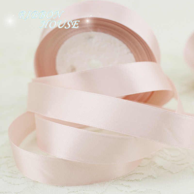 (25 หลา/ม้วน) แสงสีชมพูซาตินซาตินริบบิ้นขายส่งของขวัญห่อริบบิ้นคริสต์มาสริบบิ้น