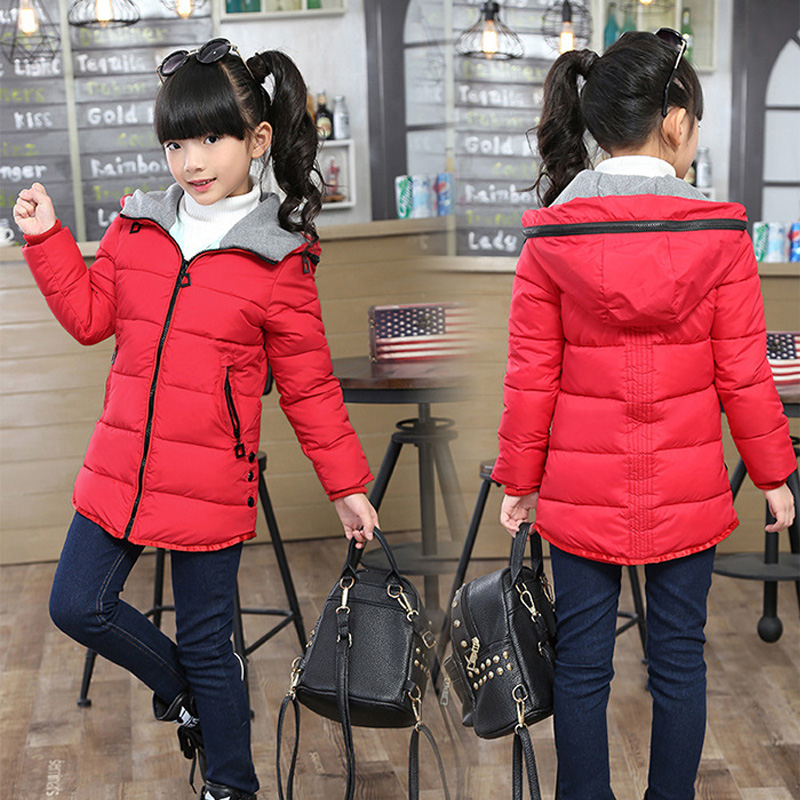 Yeni Kış Mont Kızlar için 2016 Kış Ceket Çocuk Kız Pamuk Kış Parka Noel Giyim Kış Okulu Giyim Snowsuit