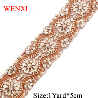 WENXI 10 YARDS Handmade Sewing Bridal Beads Rose Gold Clear Crystal Rhinestone Applique Trim Iron On Wedding Dress Sash WX812