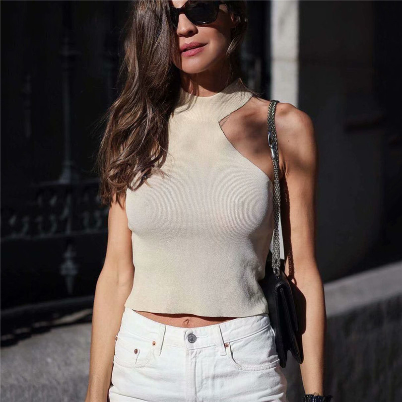 Women Stylish Solid Knitted Halter Blouse Sleeveless Irregular Stretchy Pullovers Female 2019 Casual Chic Tops Blusas