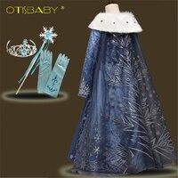 New Anna Nhung Evening Gowns cho Cô Gái Cô Gái Mùa Hè Hoa Ăn Mặc Công Chúa Bé Cô Gái Elsa Snowflake Dresses với dài Cloak