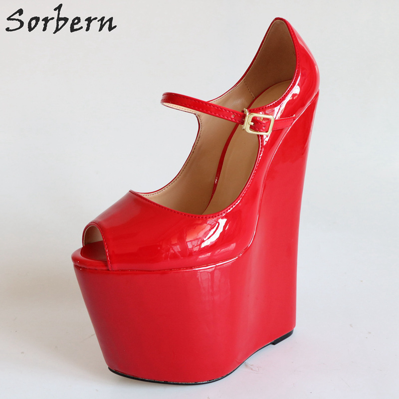 4fe8a394255a41 Sorbern Comfortable Red Wedge High Heel Pump Shoes Women Mary Janes Shoes  22Cm Ladies Heels Size 40 48 Womens Platform Heel-in Women s Pumps from  Shoes on ...