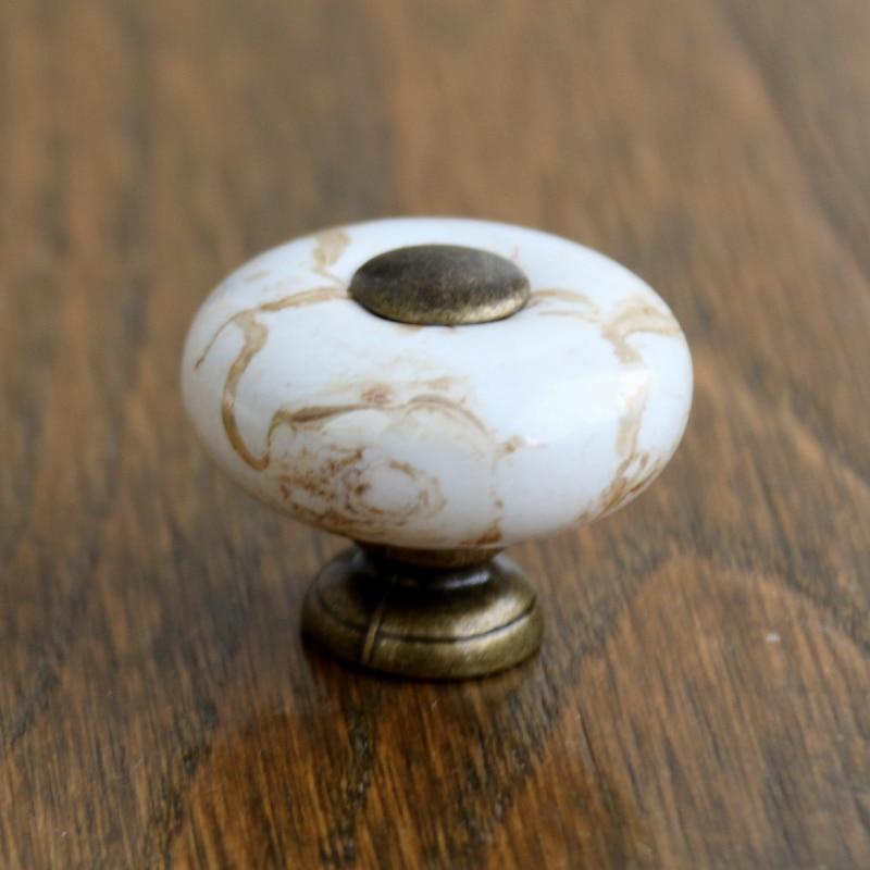 ceramic antique bronze dresser knob drawer pull handles marble vein kitchen cabinet knobs furniture knob handle