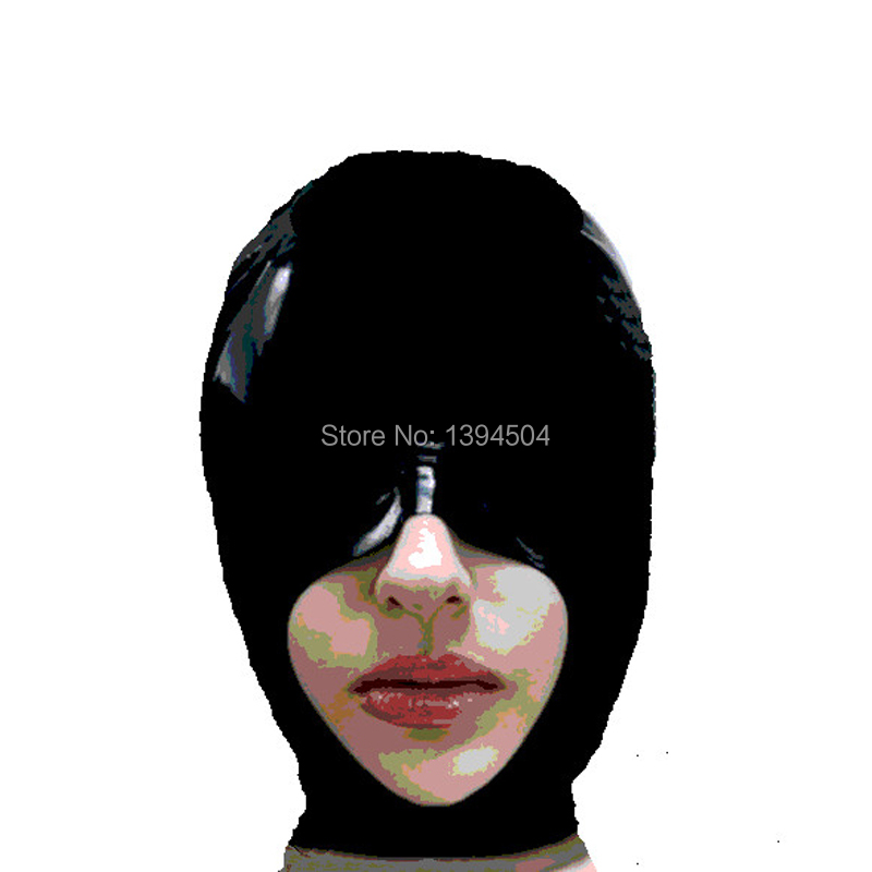 Nya exotiska kvinnor Handgjorda skräddarsydda storlekar Svart Latex Maid Open Mouth Hoods Fetish Mask Heroine kvinnlig mask Huvudbonader Zentai
