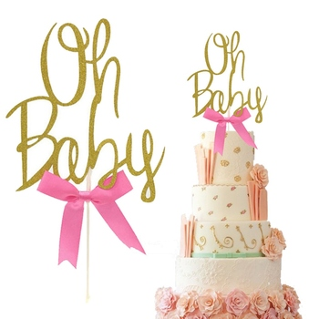 1Pcs Gold Glitter Oh Baby Cake Topper 1St Birthday It's A Girl/Boy Cake Toppers Kids Party Baby Shower Decorations image