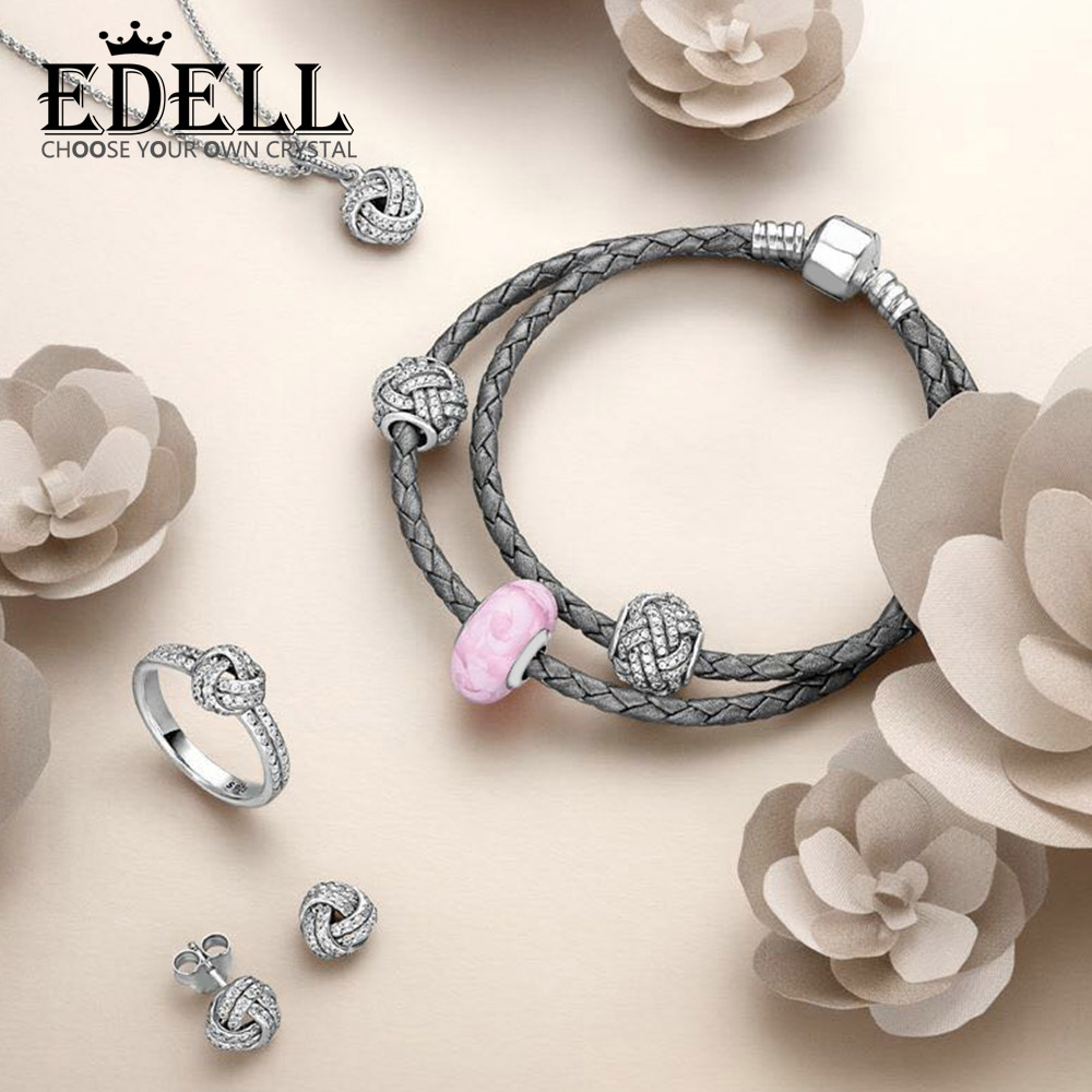 EDELL 100% 925 Sterling Silver 1:1 SPARKLING LOVE KNOT EARRING STUDS Ring Charm Beads Necklace DOUBLE WOVEN LEATHER BRACELET SetEDELL 100% 925 Sterling Silver 1:1 SPARKLING LOVE KNOT EARRING STUDS Ring Charm Beads Necklace DOUBLE WOVEN LEATHER BRACELET Set