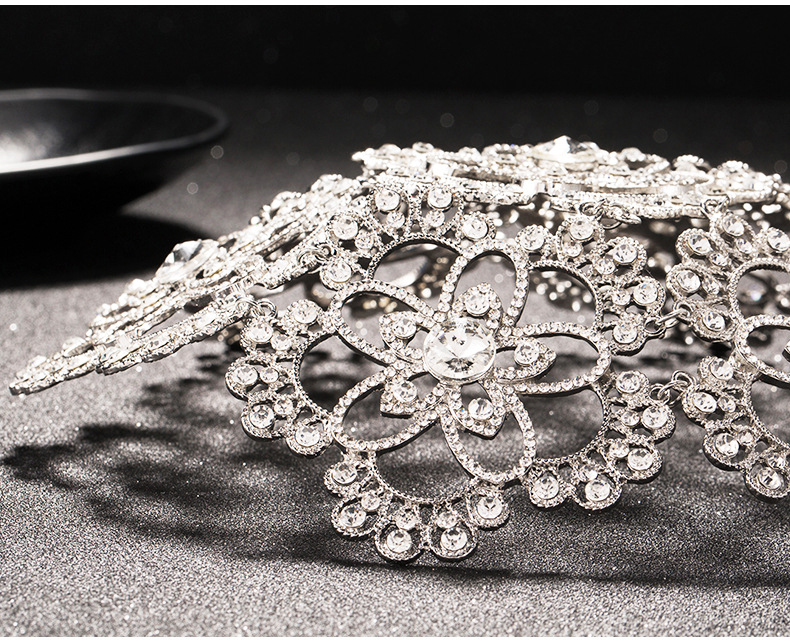 Image 5 - Vintage Silver Prom Pageant Round Crowns Rhinestone Flower Bridal Hair Jewelry Bridal Headpiece Tiara Wedding Hair Accessories-in Hair Jewelry from Jewelry & Accessories