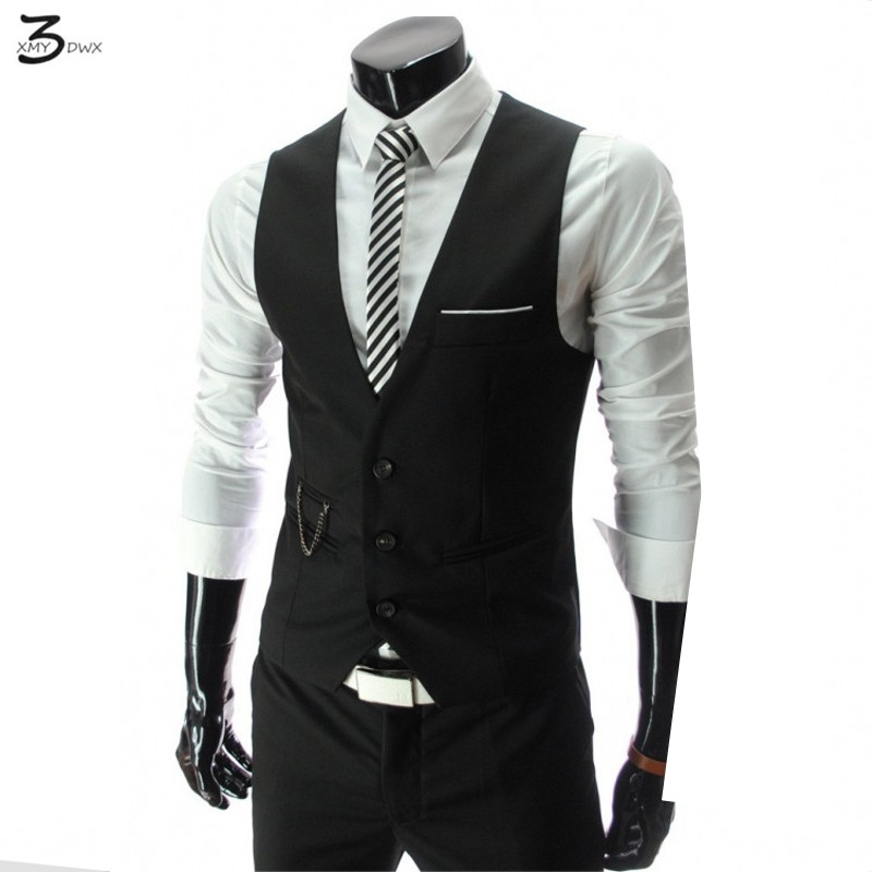 XMY3DWX 2017 stylish men fall slim fit high-end business suit vest/Male leisure v-neck cotton vest/groom dress Black formal