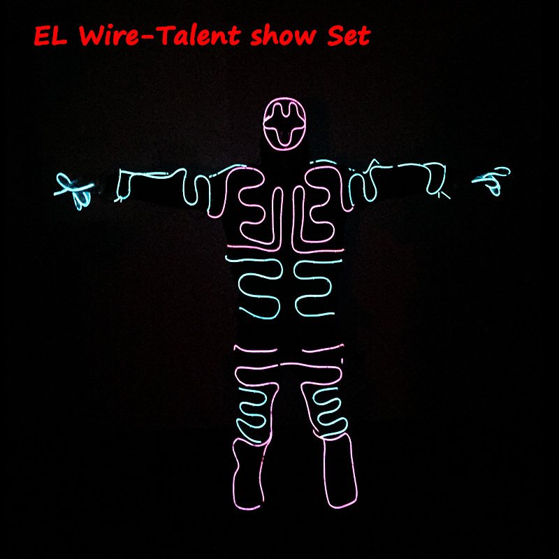 New Fashion DIY EL wire Suits LED/EL Clothes glowing Costumes Glowing Gloves Shoes holiday lighting Clothes Men Party decoration