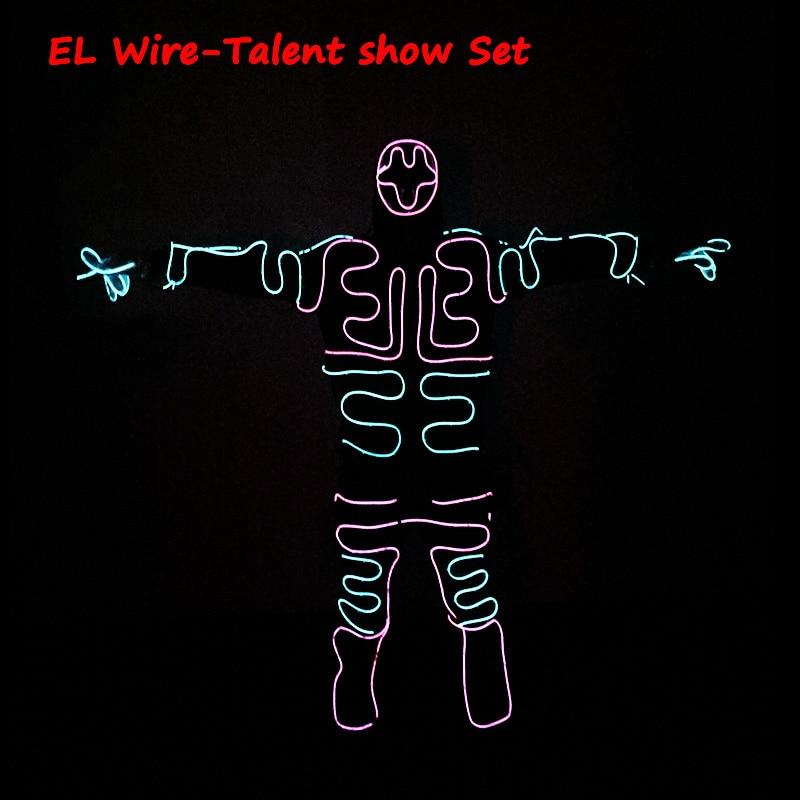 New Fashion DIY DIY EL Kostume LED / EL Veshje me ngjyra të ndezura Kostume Doreza me ngjyra të ndezura Këpucë ndriçim festash Veshje Burra dekoratë për festa