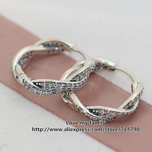 2015 New 925 Sterling Silver Twist of Fate Hoop Earrings with Clear Cz