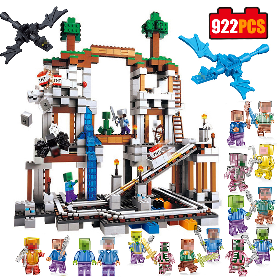 922pcs Mine Mountain model Compatible Legoed Minecrafted series building Blocks set my world figures bricks Toys for children smartable building blocks of my world minecrafted lepin 4in1 steve with weapon figures brick model toys for children gift lr 823