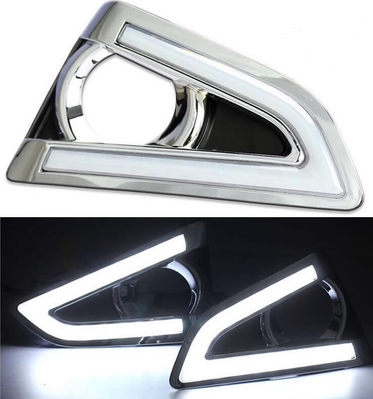 ФОТО  Turn Off Style Relay Waterproof 12V LED Car DRL Daytime Running Lights with Fog Lamp Hole for Toyota REIZ 2013
