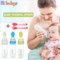 Garrafas de Alimentação Do Bebê Do Silicone Com 1 pcs Bebê talheres Colher de Bebê Cereal de Arroz Suplemento Alimentar Garrafa Squeeze Gel de Sílica Colheres