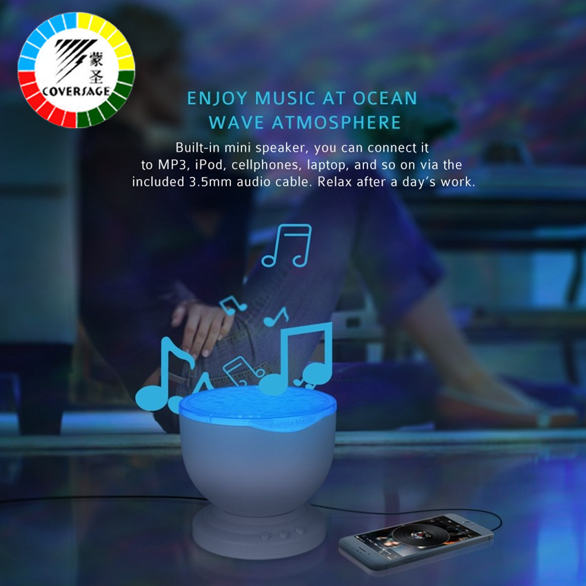 Coversage Ocean Wave Projector Music Player Speaker LED Night Light - Night Lights - Photo 2